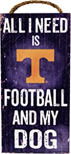 """Fan Creations NCAA Tennessee Volunteers 6"""" x 12"""" All I Need is Football and My Dog Wood Sign"""