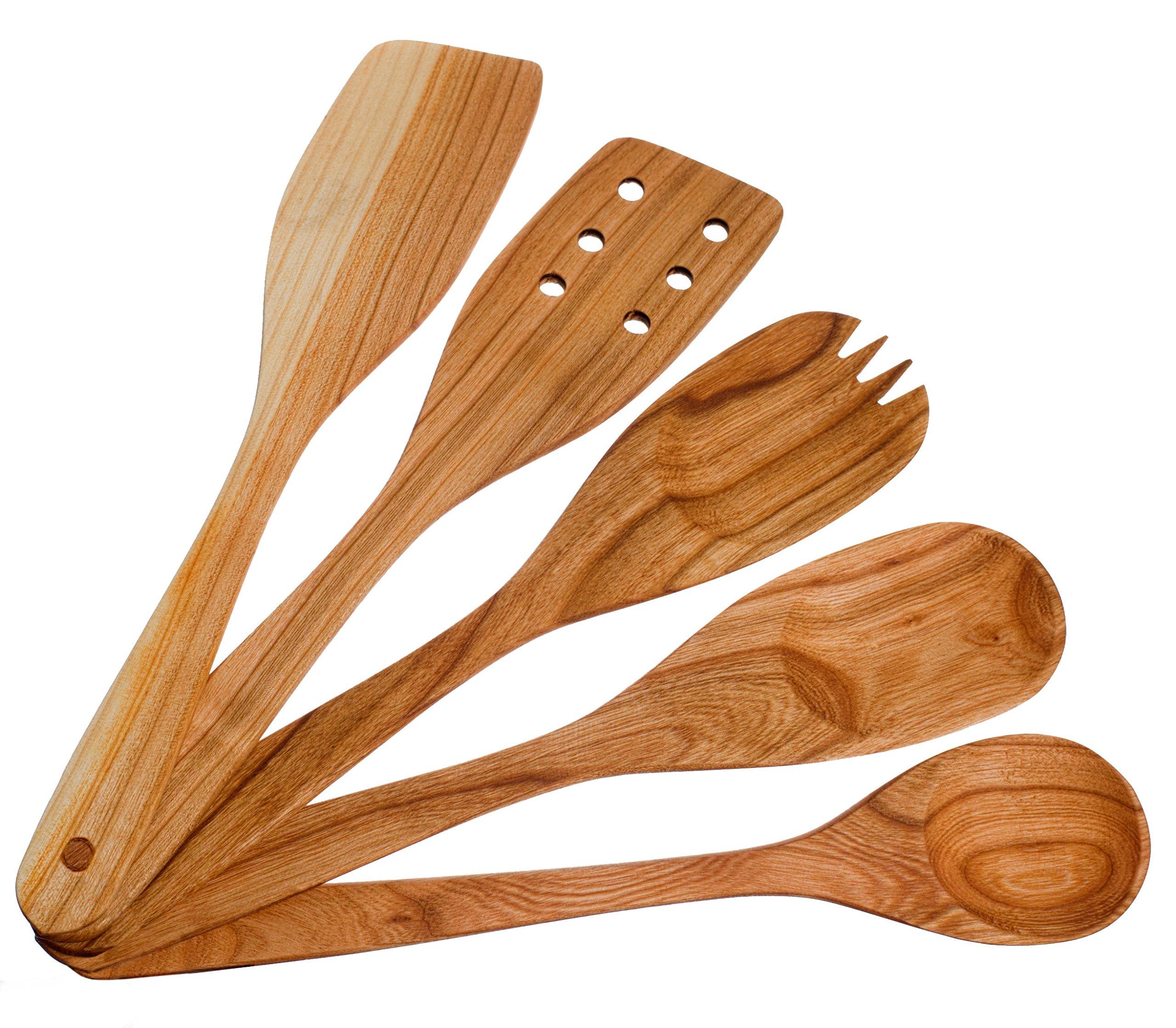 Handmade Utensil Set. Wooden Cute Kitchen Utensils 12''/30 cm. Cherry Wood Kitchen Supplies & Utensils Set of 5 by MyFancyCraft (Image #1)