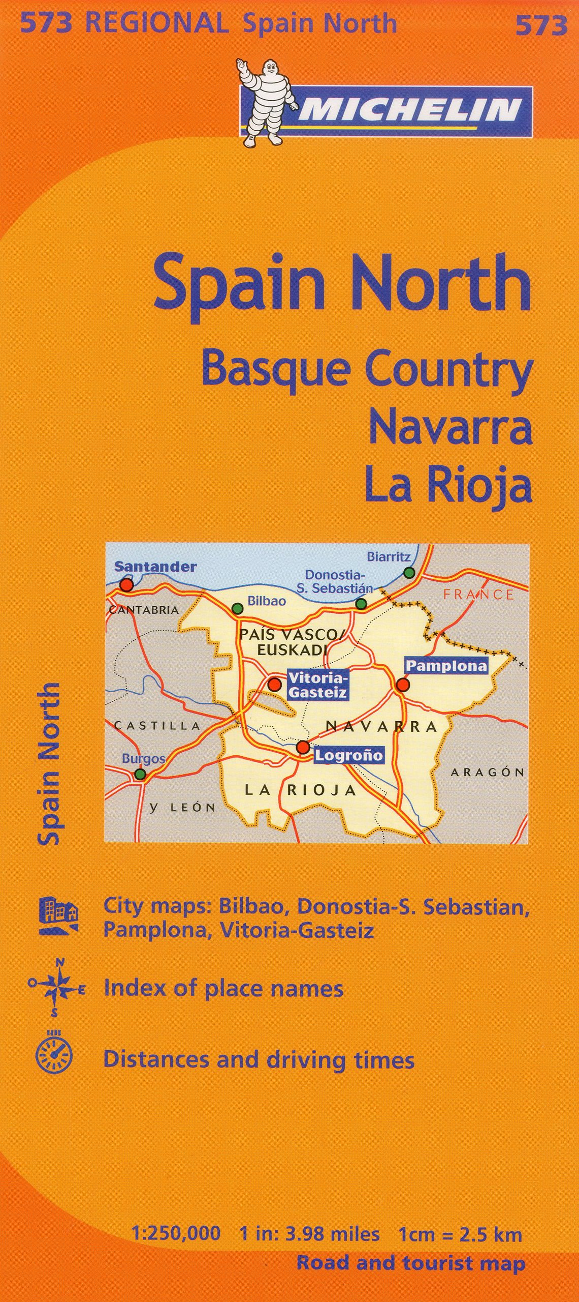 Map Of Spain Navarra.Michelin Spain North Basque Country Navarra La Rioja Map 573