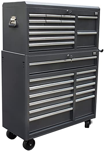 WEN 77041 41-Inch Silver Tool Chest and Cabinet Combo