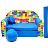 Kindersofa Bettfunktion 3in1 Sofa (Kindersessel Ausziehbett Bett) C32 Bausteine