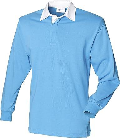 Front Row Camisa clásica de rugby de manga larga, 14 colores, pequeña T – Rojo/Blanco – 3XL: Amazon.es: Ropa y accesorios