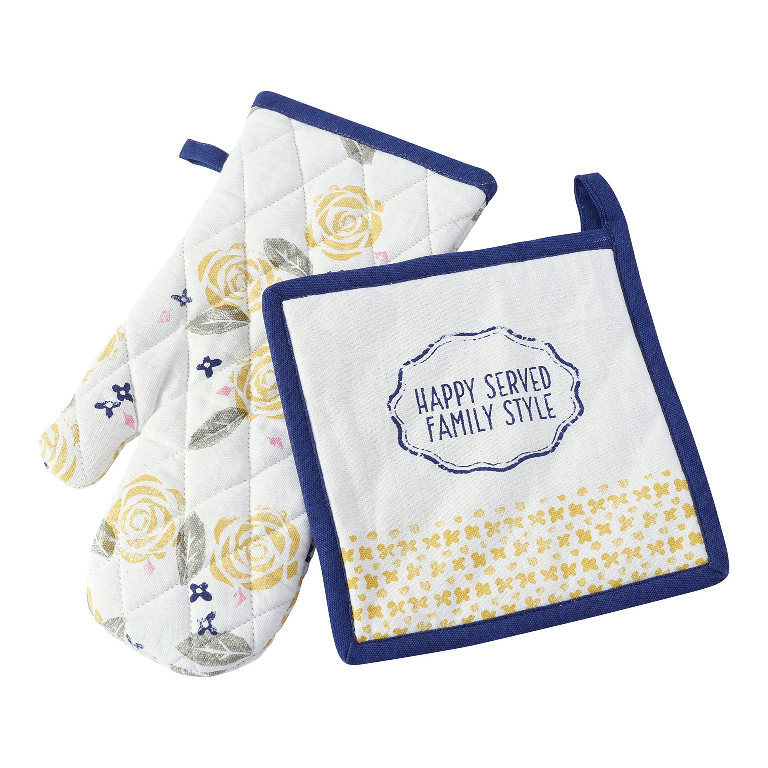 Hallmark Home Cotton Everyday Quilted Potholder and Oven Mitt Set, Family Style with Flowers