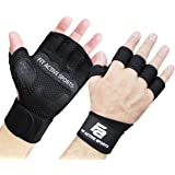Fit Active Sports Weight Lifting Gloves with Wrist Wraps - Extra Grip & Padding for Crossfit, Lifting, Gym Workout, Cross Training, Weightlifting, WODs, & Fitness. Suits Men & Women. No Calluses