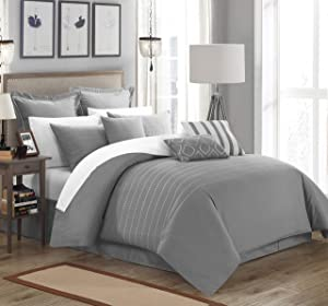 Chic Home 9 Piece Brenton Comforter Set, Queen, Grey