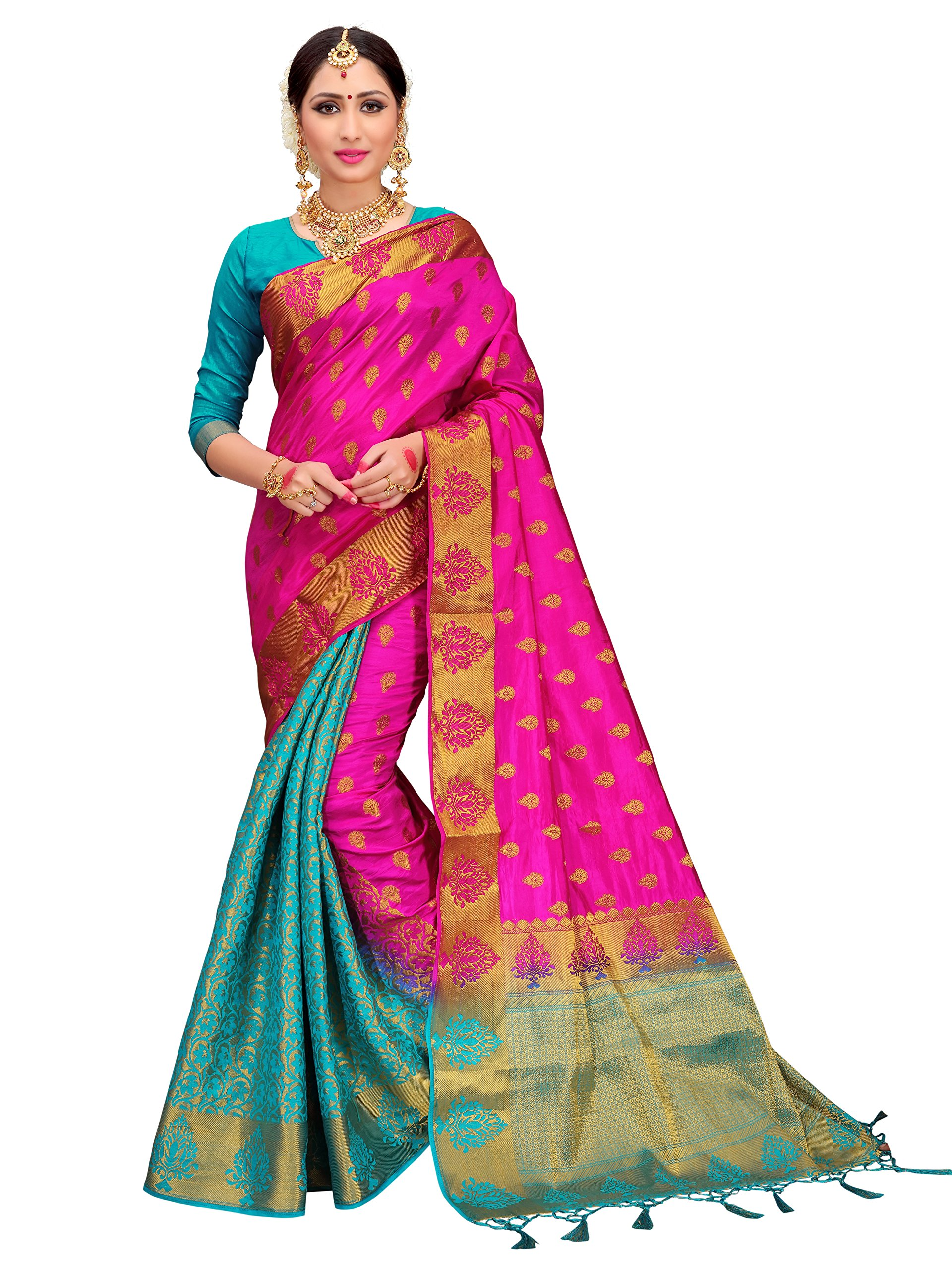 ELINA FASHION Sarees Women's Banarasi Art Silk Woven Work Saree l Indian Wedding Ethnic Sari & Blouse Piece (Pink & Turquoise)
