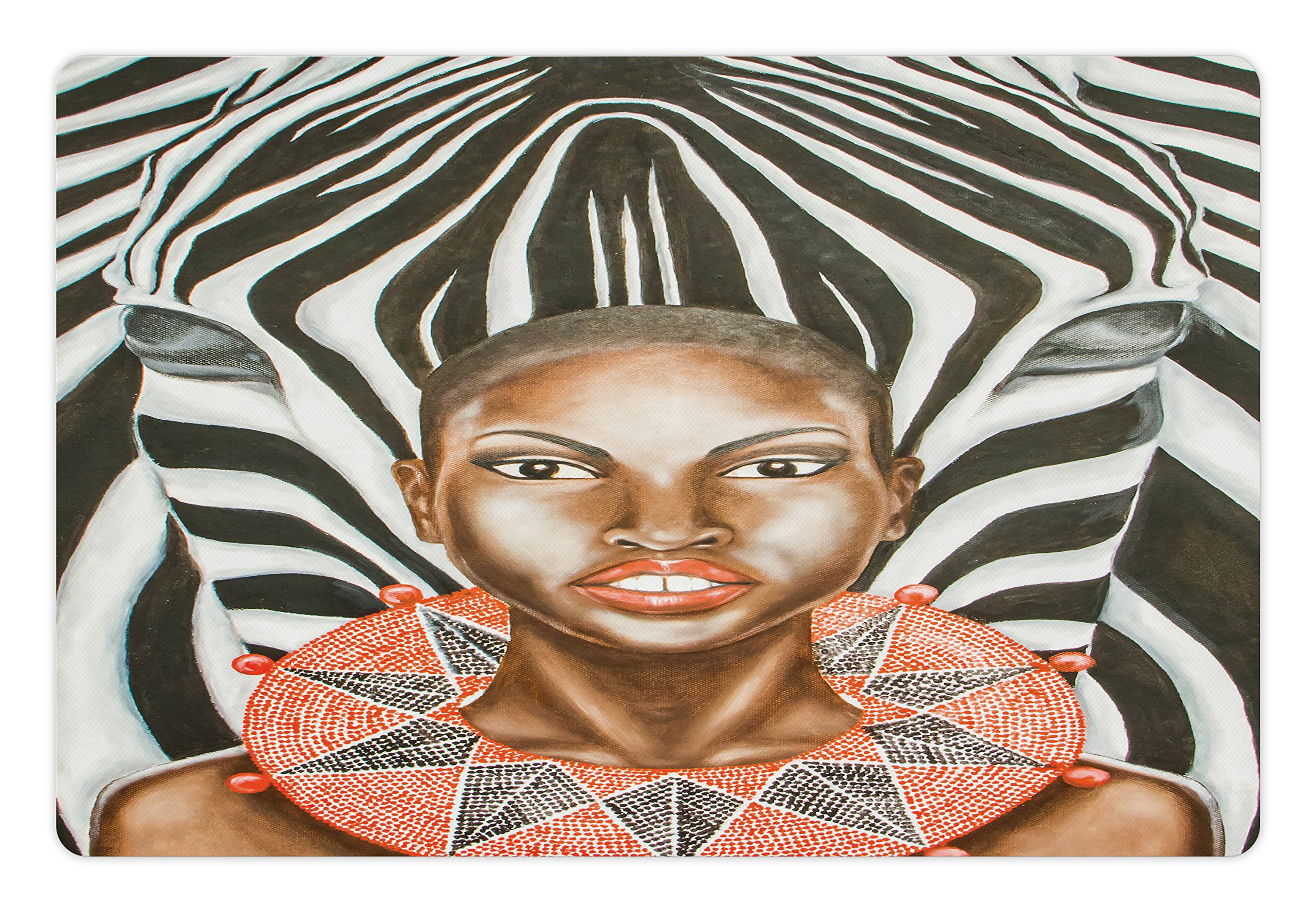 Lunarable Country Pet Mat for Food and Water, African Woman with Zebra Spirit Animal Mother Nature Themed Artistic Image, Rectangle Non-Slip Rubber Mat for Dogs and Cats, Orange Light Caramel