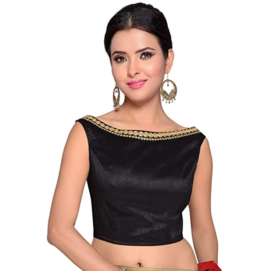 fbec8d2472d32b Studio Shringaar Women's Poly Raw Silk Embroidered Stitched Saree Blouse  (Black, ...