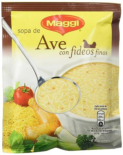 MAGGI Sopa de Ave con Fideos Finos - Sopa Deshidratada - Sobre 78g (4 raciones
