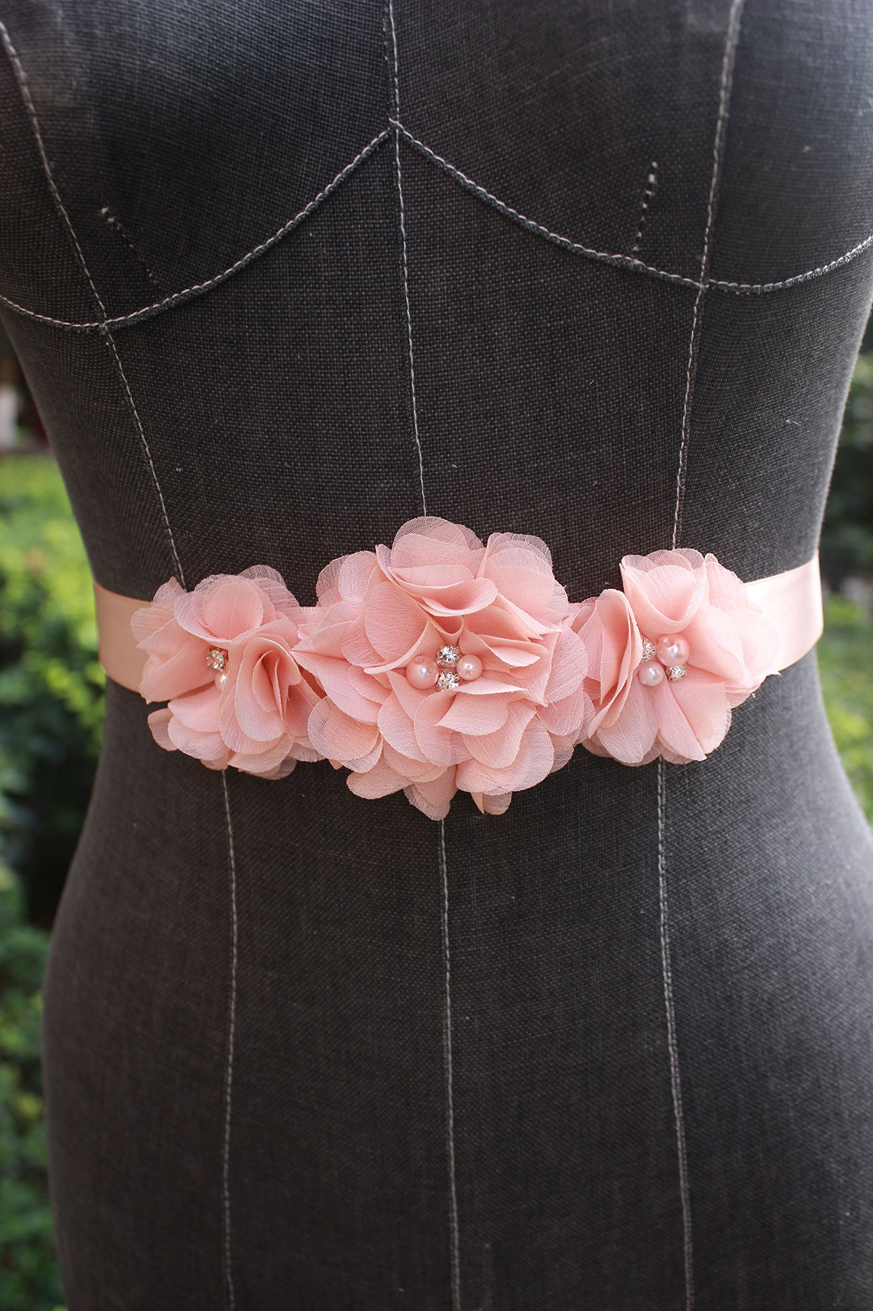 Bridesmaid and Flowergirls sashes wedding sash pearls flowers belts (Peach) by nania (Image #2)