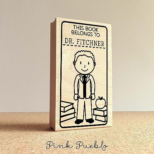 Amazon Teacher Book Stamp Personalized Bookplate Rubber Stamp