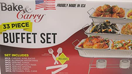 Bake And Carry Disposable Buffet Sets Chafing Dishes Food warmers. Different Sizes available. 33 Piece Buffet Set