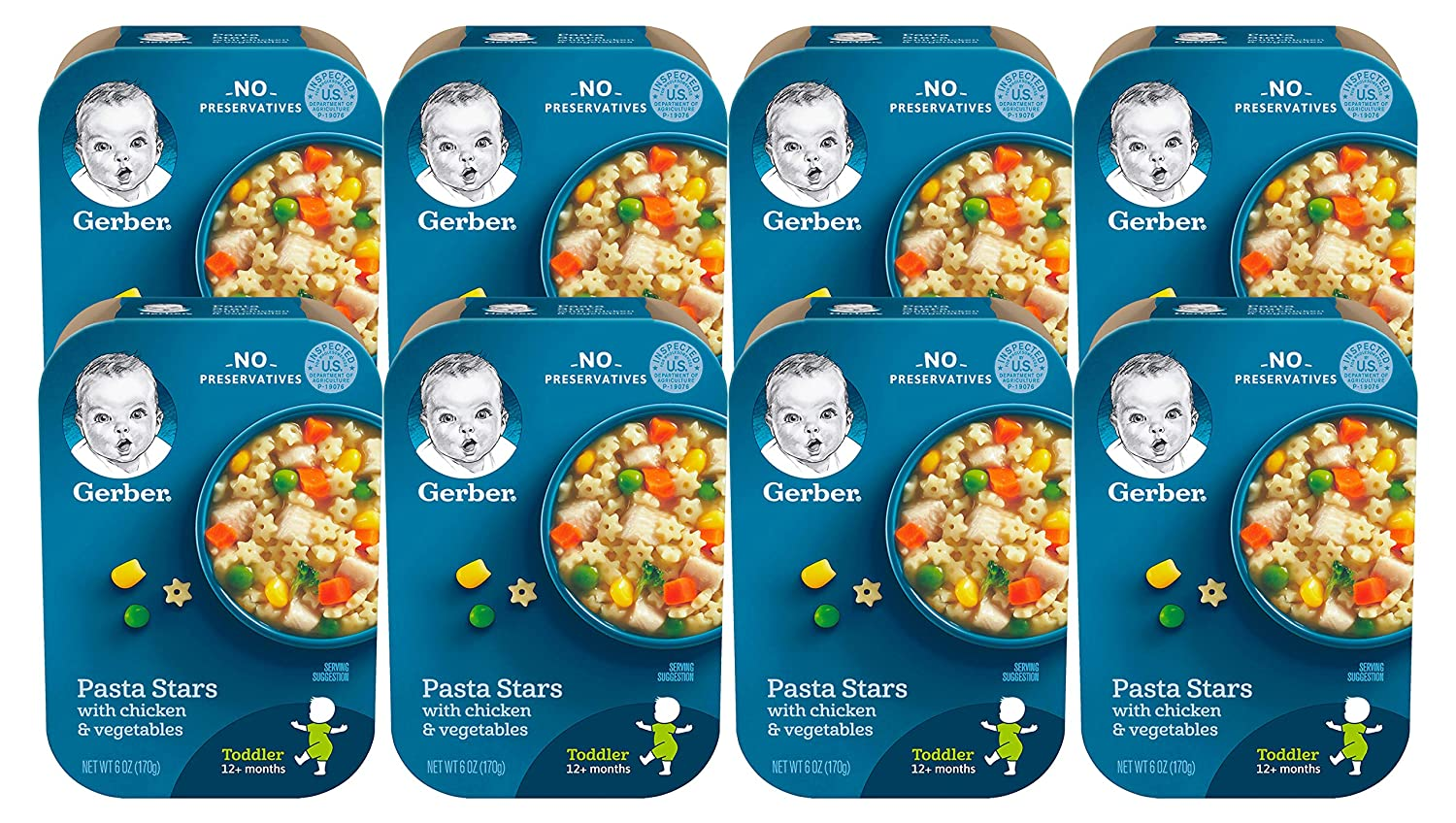 Gerber Lil Meals Tray, Pasta Stars with Chicken & Vegetables, 6 OZ (Pack of 8)