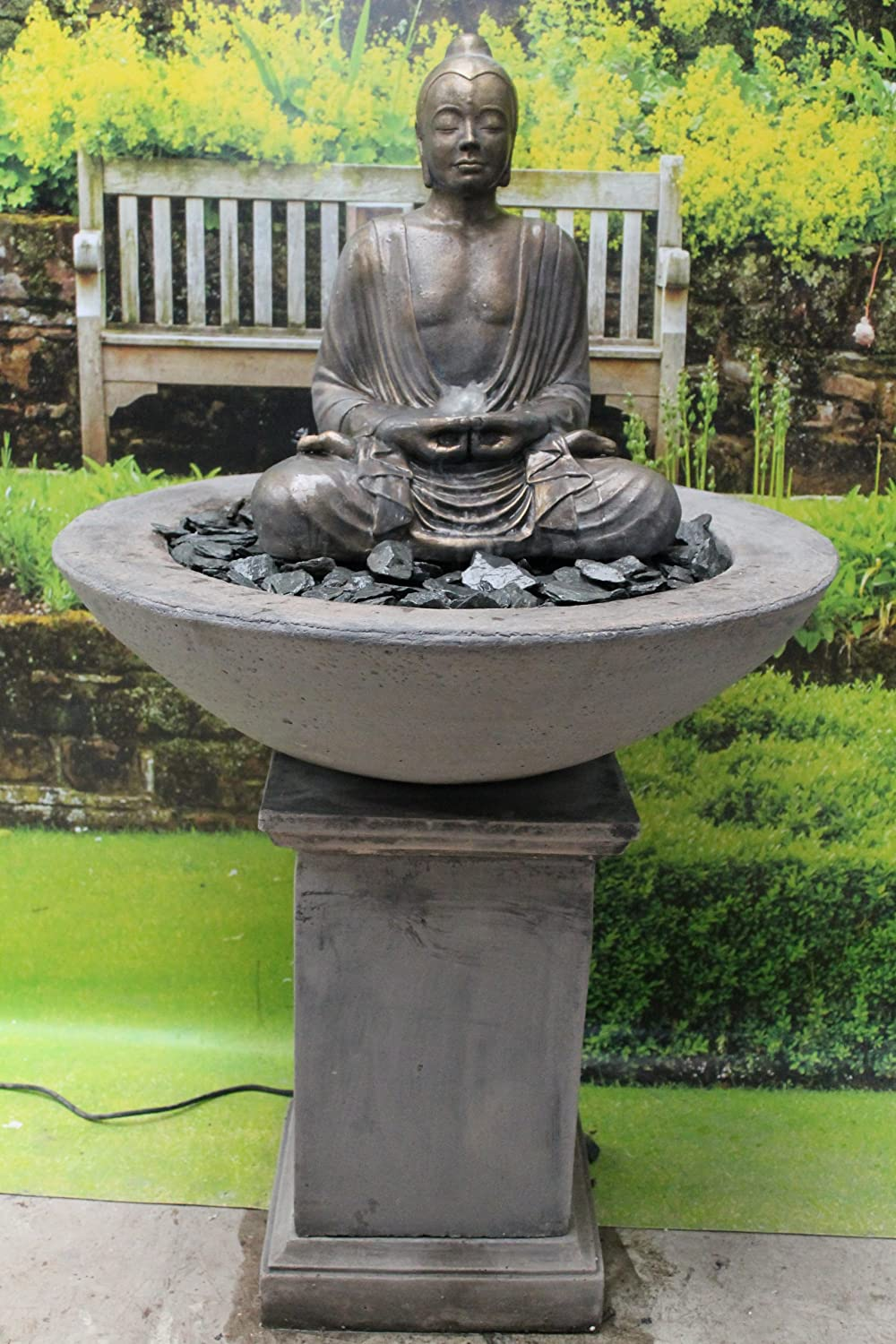 Tall Ornate Stone Buddha Patio Fountain Water Feature Garden Ornament