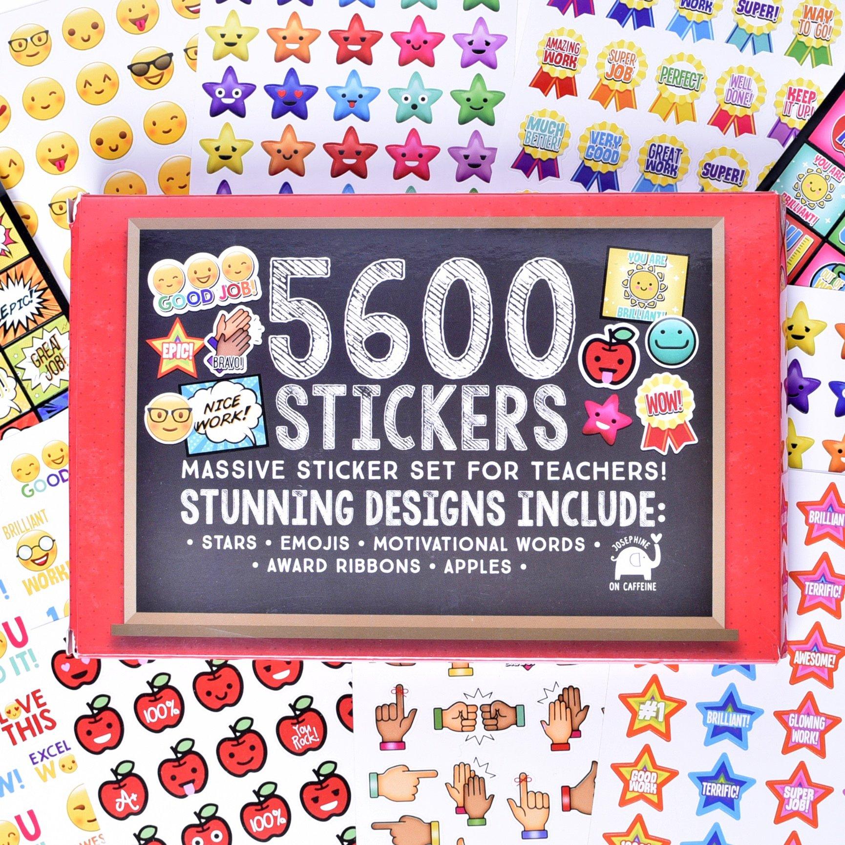 Josephine on Caffeine Teacher Stickers Kids- Bulk Teacher Supplies Value Pack 5600 Reward Stickers Classroom Supplies School Supplies Teachers