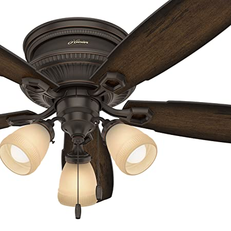 Hunter Fan 52 inch Low Profile Traditional Ceiling fan with LED Light Kit, Onyx Bengal Renewed