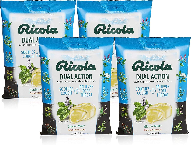 Ricola Dual Action Glacier Mint Herbal Cough Suppressant Throat Drops, 19ct Bag (Pack of 4)