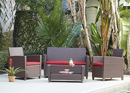 Cosco Outdoor Patio Set, 4 Piece, Brown Wicker With Red Cushions