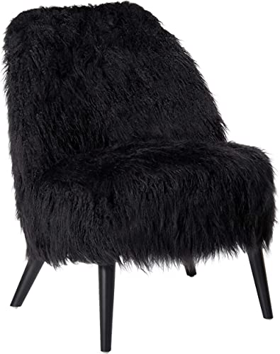 Christopher Knight Home Cheryiie Faux Fur Accent Chair, Black Matte Black
