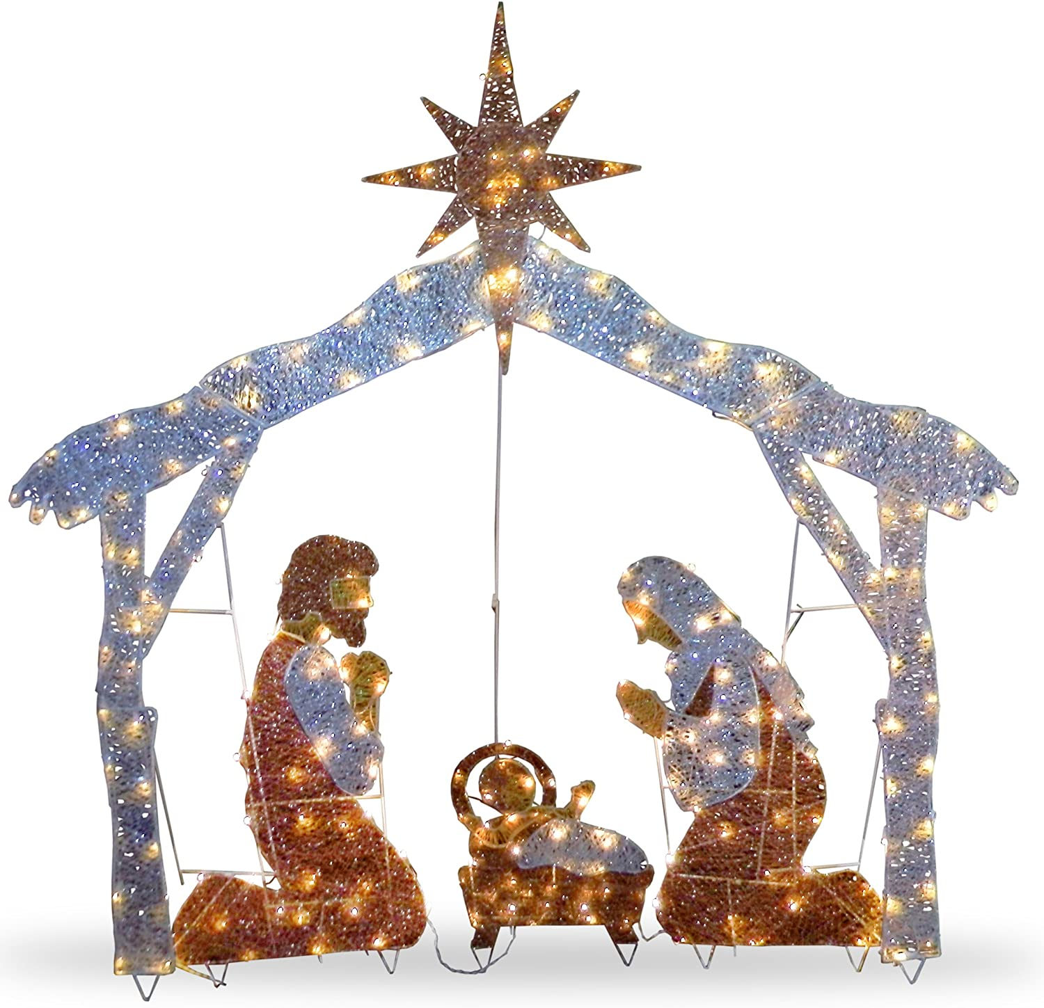 National Tree Company lit Artificial Christmas Décor Includes Pre-strung White Mini Lights and Ground Stakes - Crystal Holy Family Nativity - 6 ft, 72-Inch