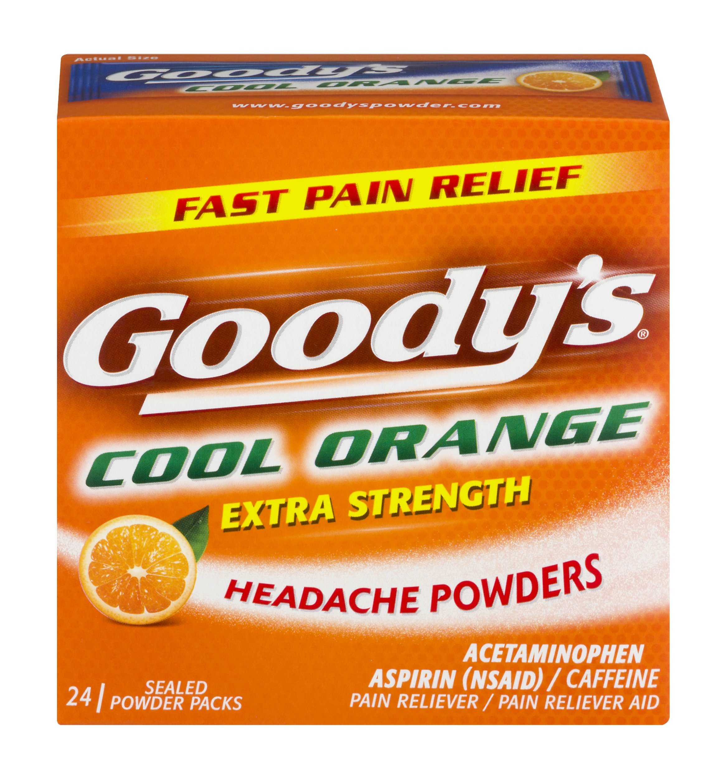 Goody's Extra Strength Fast Pain Relief Powder - Acetaminophen, Aspirin, & Caffeine Quickly Relieve Pain Due to Headaches, Body Aches, and Fever - Cool Orange Flavor - 24 Powders