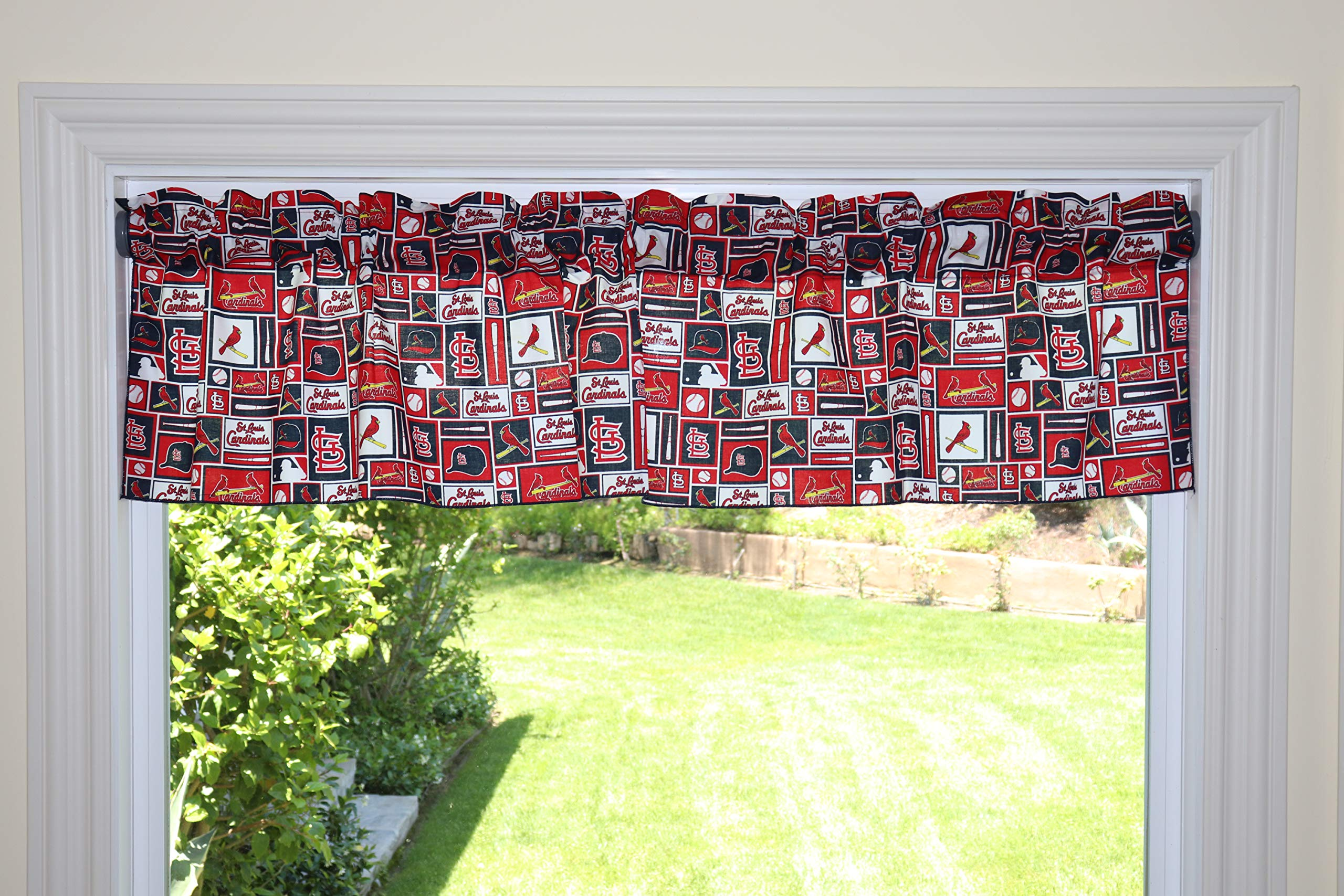 lovemyfabric Baseball Cotton Window Valance 100% Cotton Print MLB Sports Team St. Louis Cardinals Events Kitchen Dining Room Bedroom Window Decor (58'' Wide) (14'' Tall, Patchwork) by lovemyfabric