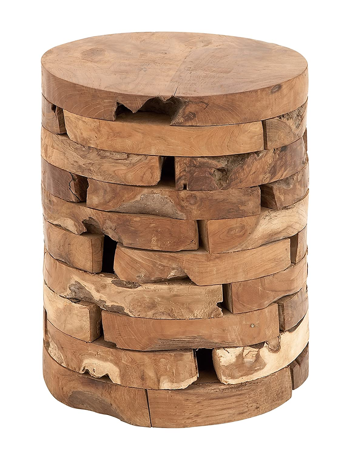 Amazon.com: Deco 79 Teak Wood Stool, 14 by 18-Inch: Kitchen & Dining