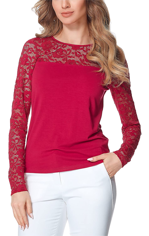 b7597d925ee3 Bellivalini Blusas Encaje Camisetas Mangas Largas Camisas Ropa Elegante  Cóctel Mujer BLV50-132
