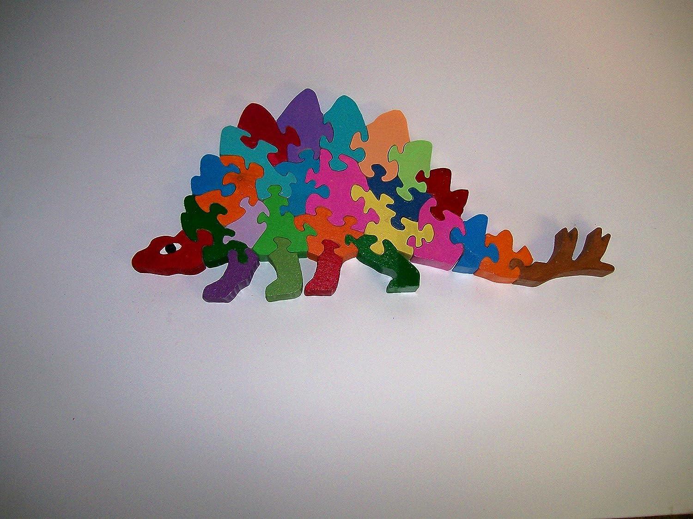 Childs Wooden Stegosaurus dinosaur Alphabet Puzzle