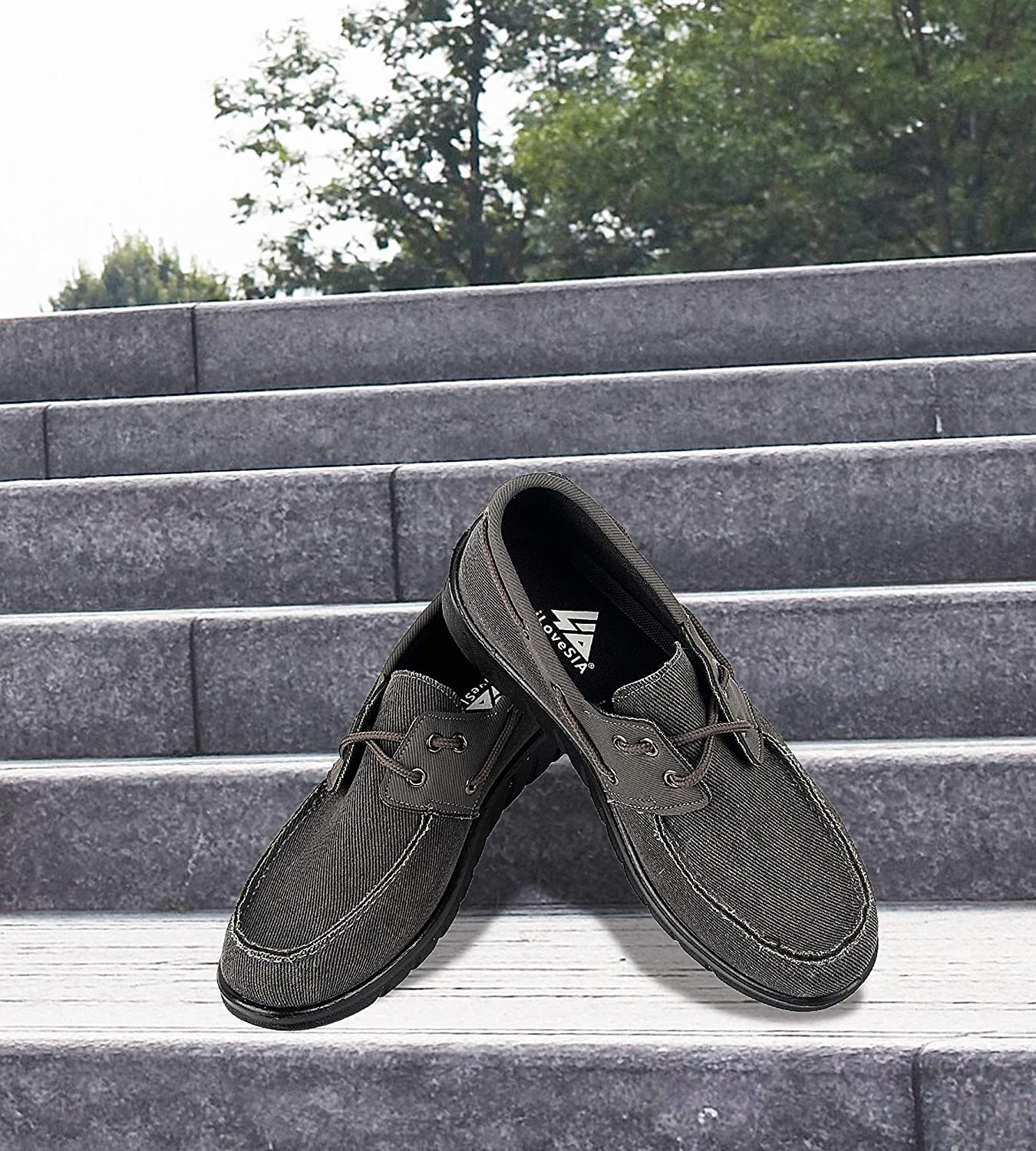 Mens Comfortable Classic Canvas 2-Eye Boat Shoes