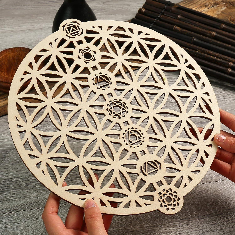 "Simurg 11.5"" Flower of Life 7 Chakra Wall Art Wooden Crystal Grid Sacred Geometry Wall Decor Wall Sculpture Home Decor"