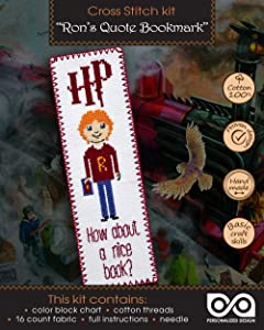 Cross Stitch Kit 'How About a Nice Book?' - Ron Weasley Quote Embroidery Bookmark