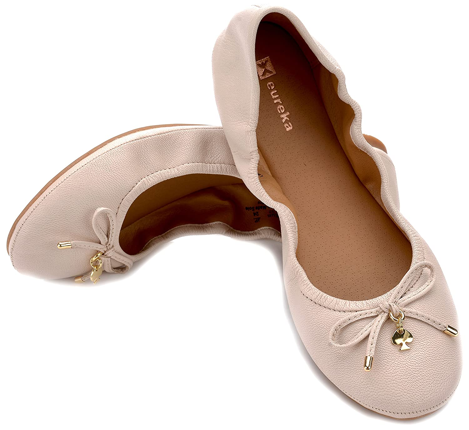 Eureka USA Women's Universe Leather Ballet Flat B074V3842M 8 B(M) US|402 Chiffon White