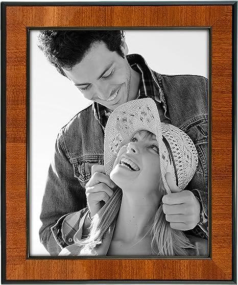 Malden International Designs Burl Wood Walnut Wooden Picture Frame With Black Border 8x10 Walnut Picture Frames