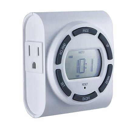 ge sunsmart 7 day programmable timer, 2 outlet, plug in, indoorge sunsmart 7 day programmable timer, 2 outlet, plug in, indoor,