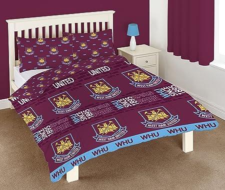 West Ham United FC Old vs New Crest Duvet Set Polyester-Cotton Football Gift