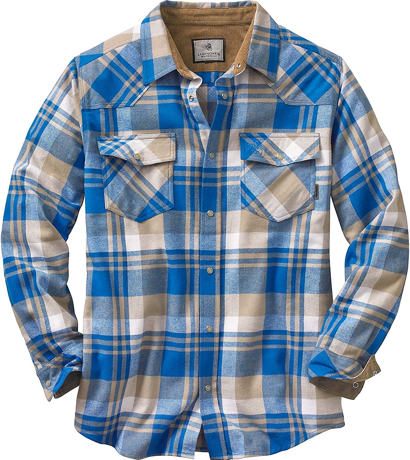 Legendary Whitetails Men's Shotgun Long Sleeve Western Flannel Shirt-Casual Snap Front Regular Fit Plaid with Corduroy Trim: Clothing