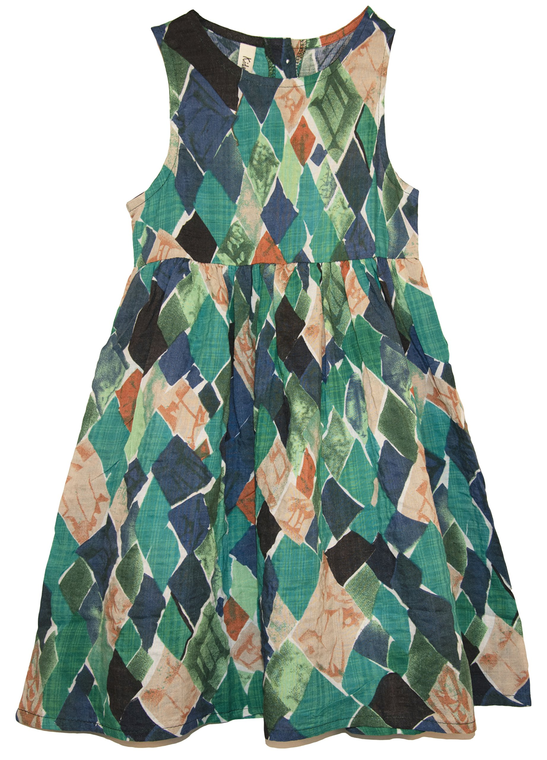 ContiKids Girls' Asymmetric Diamond Pattern Sleeveless Dress 13 Green
