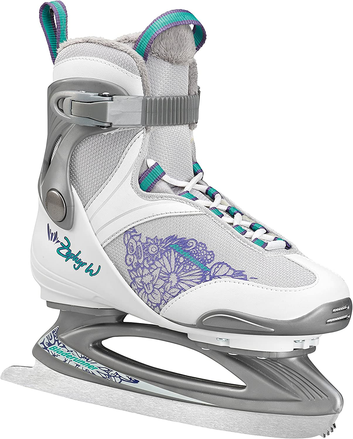 Bladerunner Ice by Rollerblade Zephyr Women s Adult Ice Skates, White and Purple, Recreational, Ice Skates