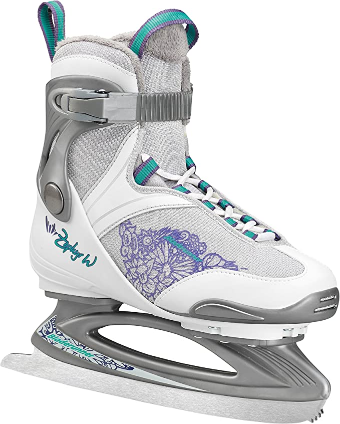 Bladerunner Ice by Rollerblade Zephyr Women's Adult Ice Skates White and Purple Recreational Ice Skates
