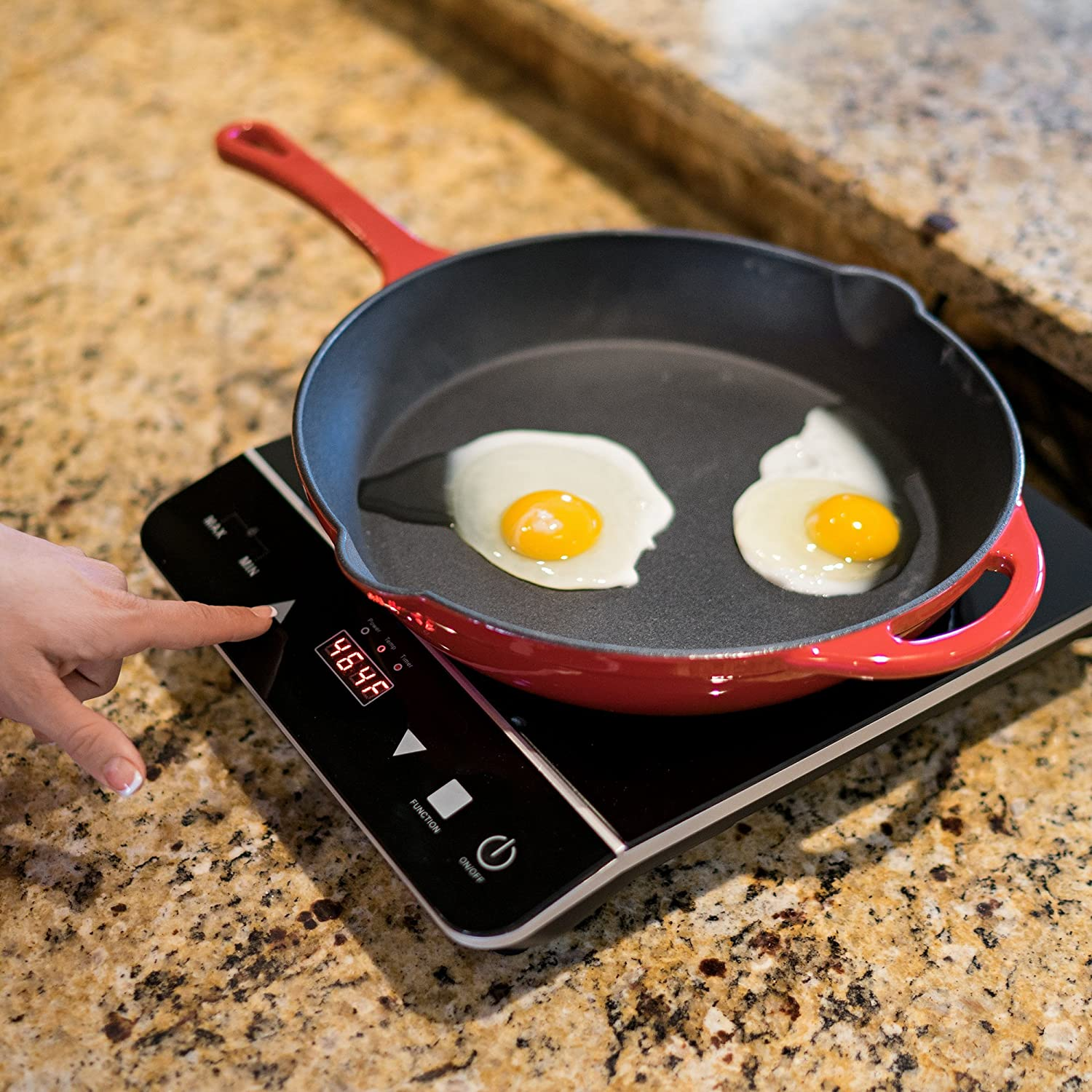INDUXPERT Portable Induction Cooktop 1800W with Power, Temperature and Timer Setting - (Only Compatible with Magnetic Cookware) - Electric cooktop with single induction burner