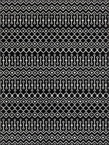 Rugs.com Geometric Kasbah Trellis Collection Rug 9' X 12' Black Low Pile Rug Perfect