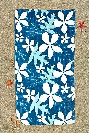 I LIKE Toalla DE Playa Hawaiian 100% Algodón 90 x 160 cm - Azul: Amazon.es: Hogar