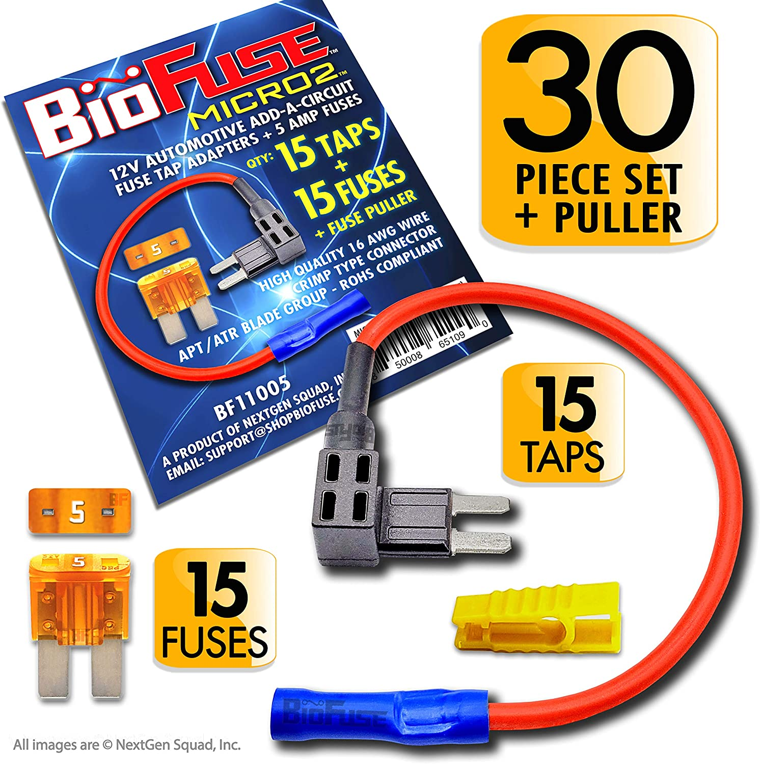 BioFuse Micro2 30 Piece Automotive Fuses and Holders Pack: Add a Circuit Fuse Tap Adapters, Fuse Puller 5A Blade Fuses 15 15