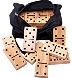 Giant Dominoes in Canvas Carrying Tote - 28 Hardwood Tiles