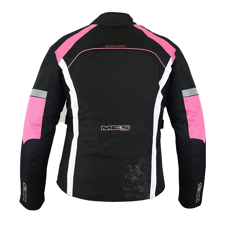 Baby Pink, XS MBSmoto MJ-24 Ladies Female Motorcycle Bike Scooter Touring Waterproof Windproof Textile Jacket