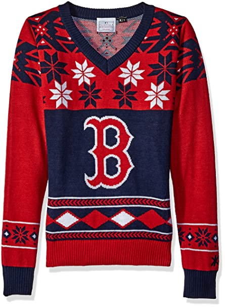 50674753 Boston Red Sox Womens Big Logo V-Neck Sweater Large