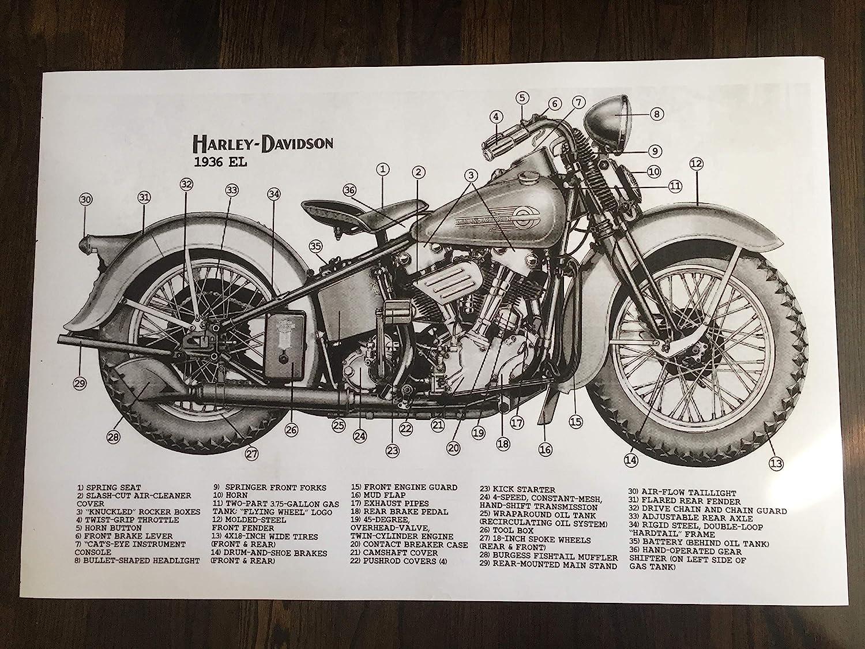 "24/"" x 16/"" Poster Old Harley Davidson Chopper Bike"