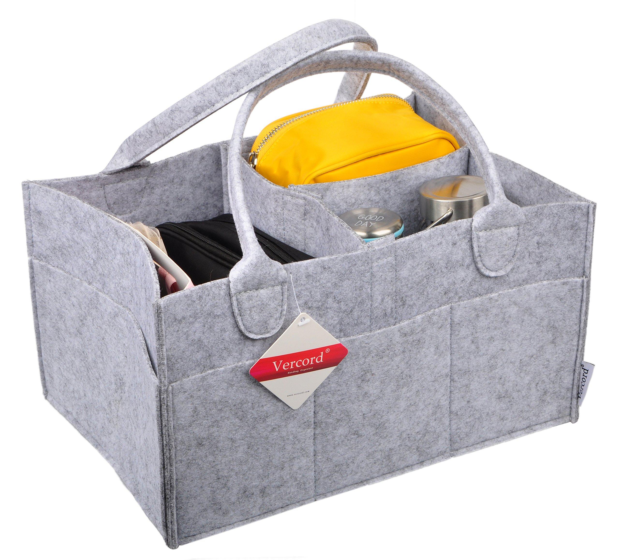 Vercord Felt Tote Handbag Purse Pocketbook Organizer Insert Divider Shaper Bag in Bag, Diaper Organizer Grey