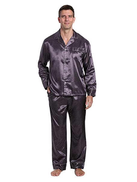 Noble para hombre Premium juego de pijama pijamas de satén - Gris -